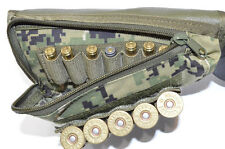 Buttstock Shotgun Rifle shell holder & Cheek Rest Pouch (Green Digital Camo)