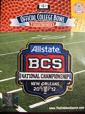 NCAA Official 2012 AllState BCS National Championship Bowl Patch Alabama LSU