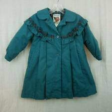 Rothschild Dress Coat Dark Green Cotton Blend Plaid Trim Girls 5