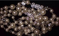 Vintage Look White House Black Market Faux Pearl Crystal Strand Necklace-$78-NWT