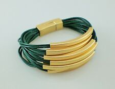 Modern Dark Green Multi Strands & Gold Tube Beads Bracelet Lagenlook Bangle