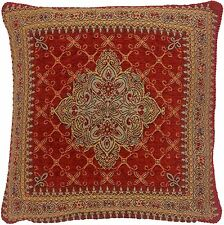 """RED GOLD AZTEC TAPESTRY CHENILLE THICK 18"""" CUSHION COVER"""