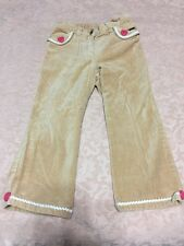 Gymboree gingerbread girl 3t tan khaki velour pants pink heart buttons