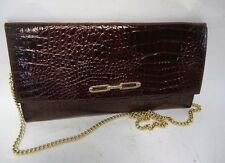 VINTAGE DARK RED CROC PRINT LEATHER CONVERTIBLE SHOULDER CLUTCH BAG CHAIN STRAP