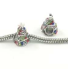 2pcs Christmas Tree European Charm Crystal Spacer Beads Fit Necklace Bracelet