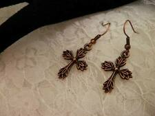 Handmade COPPER CROSS Earrings HYPO Allergenic/Jewelry/Women/Men