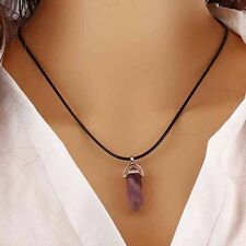 Natural Gemstone Crystal Quartz Healing Reiki Pendulum Pendants Chain Necklace F