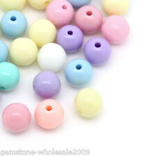 300PCS Wholesale W09 Candy Color Acrylic Spacer Beads Round Ball Mixed 8mm Dia