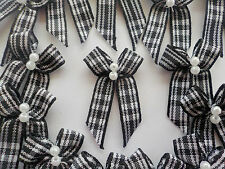 100! Stylish Black & White Gingham Check Bow 6MM Ribbon - Pearl Bows - 25mm/1""