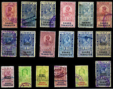 INDIA PRE INDEPENDENCE, K.G. V & K.G. VI-Share Transfer 18 Different Used Stamps