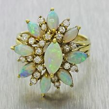 1970s Vintage 18k Solid Yellow Gold Opal .76ct Diamond Floral Cocktail Band Ring