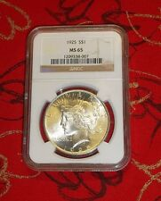 1925 - Peace Silver Dollar - Us coin - 'Ms65' - Ngc