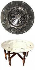 "Moroccan Folding Table Engraved Silver Tray Top ✡ Judaica Hamsa Hand 31"" Ø"