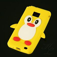 Samsung Galaxy S2 i9100 Silikon Case Schutz Hülle Etui Cover Motiv Pinguin Gelb