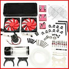 Hot Water Cooling Kit 240 Radiator CPU GPU Block Pump Reservoir Tubing Barb 3/8