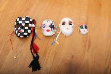 Set of 4 Decorative Ceramic Face Masks Painted Glitter