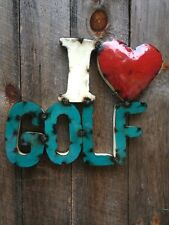 Retro Recycled Metal 3D Sign - I ❤️GOLF- Vintage- Gift-Dad's