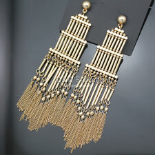 Ethnic Gold Gypsy Long Bar Tassels Dangle Chandelier Earrings Belly Dance