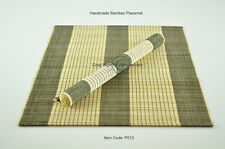 4 Bamboo Placemats Handmade Table Mats, Black-Cream, Small Defects , P012