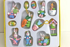 GISELA GRAHAM EASTER PASTEL WOOD MINI EASTER DECORATIONS BOX OF 12