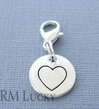HEART Clip On Charm Tag Dangle Lobster Clasp for Link Chain Floating locket C183
