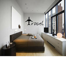 TRAVEL Plane Decor Wall Art Decal Quote Words Lettering DIY Sticker