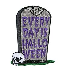 "Grave Fun ""Every Day Is Halloween"" Tombstone Patch Kreepsville Iron-On Applique"