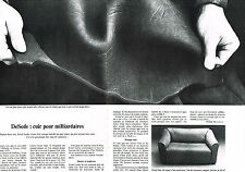 PUBLICITE ADVERTISING 074  1977  DeSede    cuirs pour milliardaires  ( 2 pages)