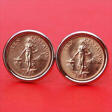 1958 Philippines 10 Centovas BU Coin Lady Standing By Hammer Anvil Cufflinks NEW