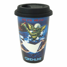 GREMLINS STRIPE WE'RE HERE TRAVEL MUG SILICONE LID CERAMIC CUP COFFEE TEA FILM