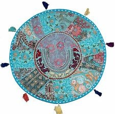 "22"" Turquoise Blue Pillow Cushion Cover Round Floor Tapestry Throw Indian Decor"
