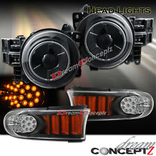 07-11 TOYOTA FJ CRUISER PROJECTOR HEADLIGHTS HALO BLACK FRONT LED BUMPER LIGHTS