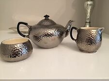Royal Winton Silver Hammered Set Tea Pot Sugar Bowl Milk Jug Creamer