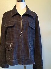 Mac & Jac Jean Jacket Women's Flap pockets Zipper Pockets Black wash Size 14