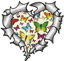 Ripped Torn Metal Look HEART With CREAM Butterfly Pattern car sticker Decal