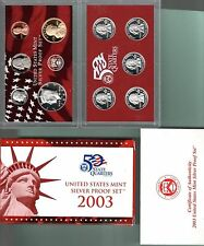 2003 SILVER PROOF SET WITH ORIGINAL GOVERNMENT BOX, ENCAPSILATED COINS, & COA