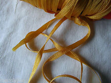 MERCERIE ANCIENNE RUBAN TRESSE lacet jaune orangé  1,50X5MM §§ RUBBON