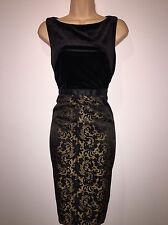 BNWT Kaleidoscope Pencil Dress Size 12 black Velvet Gold Jacquard Skirt Rrp £89