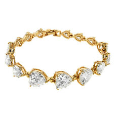 "41.00 Ct Huge Heart Shape Cubic Zirconia CZ Yellow Gold Plated Brass 7"" Bracelet"