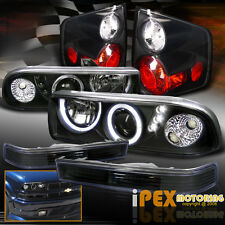1998-2004 Chevy S10 [COMPLETE 6PC] Halo Projector LED Black Headlight+Tail Light