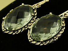 CE473- SUPERB Genuine 9ct Solid Gold NATURAL Green AMETHYST Drop Earrings