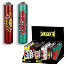 ★1 ACCENDINO CLIPPER A GAS MICRO RICARICABILE + PORTACCENDINO CASINO METAL CASE★