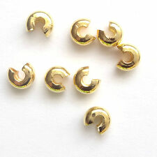 50 Gold Plated Findings 4mm Crimp Cover Beads