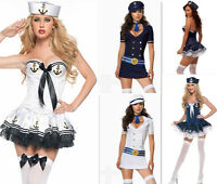 Sexy Womens Retro Navy Sailor Pin Up Fancy Dress Costume Halloween Outfit 10 14