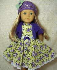 Doll Clothes Green Purple Flowers Dress Shrug Hat 4pc Set fits American Girl *30