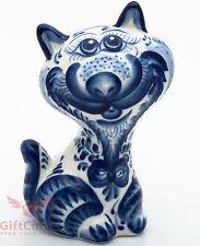 happy Cat Kitty puss Collectible Gzhel style Porcelain Figurine hand-painted