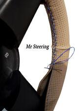 Fits 99-05 bmw e46 perforé en cuir beige volant couverture bleu ciel Stitch