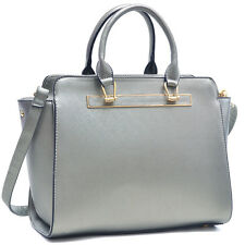 Dasein Faux Leather Winged Satchel Collections Gold Tone Lady Satchel Handbag