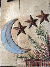"(Set) 12"" RUSTY GALVANIZED MOON & 3 RUSTY BLACK BARN STARS 5.5"" Distressed"