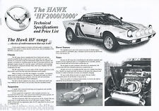 "Prospekt Hawk HF 2000 3000 Specifications Price List"" 2000 gb brochure auto turismos"